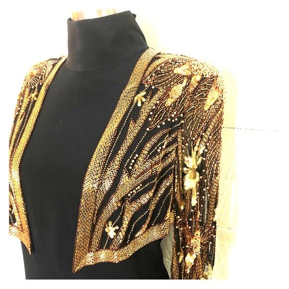 Bob Mackie Black Sequin Evening Dress